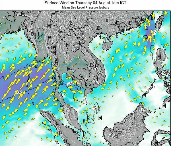 Cambodia Surface Wind on Monday 15 Feb at 7pm ICT