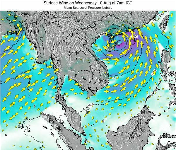 Cambodia Surface Wind on Saturday 15 Mar at 7pm ICT