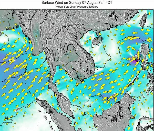 Cambodia Surface Wind on Friday 01 Aug at 7pm ICT