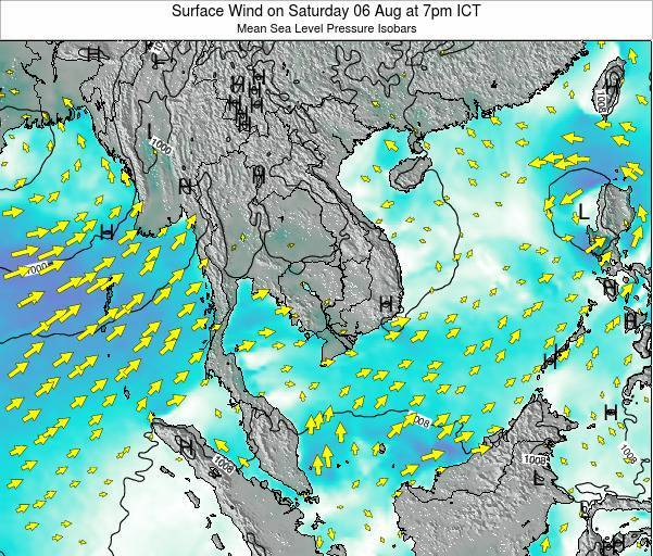 Cambodia Surface Wind on Friday 03 Apr at 7pm ICT