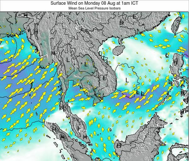 Cambodia Surface Wind on Monday 24 Jun at 1am ICT