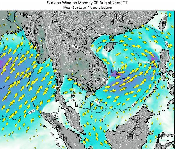 Cambodia Surface Wind on Friday 18 Apr at 1am ICT