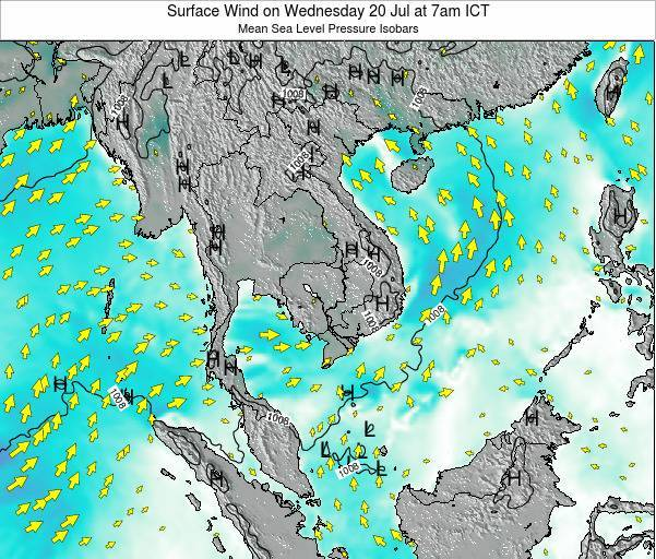 Cambodia Surface Wind on Saturday 30 Jul at 1pm ICT