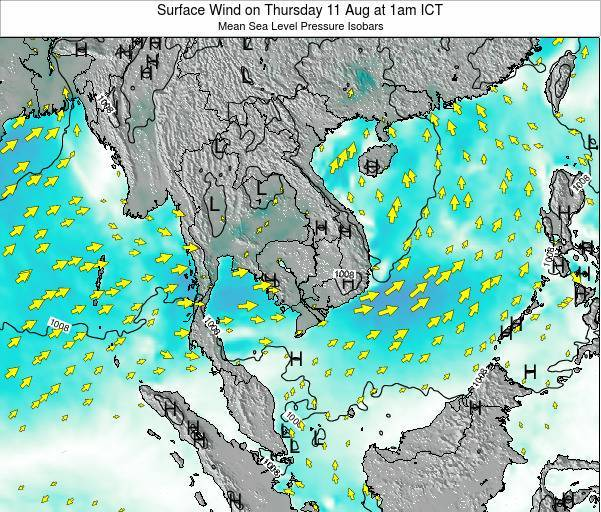 Cambodia Surface Wind on Monday 27 May at 7am ICT