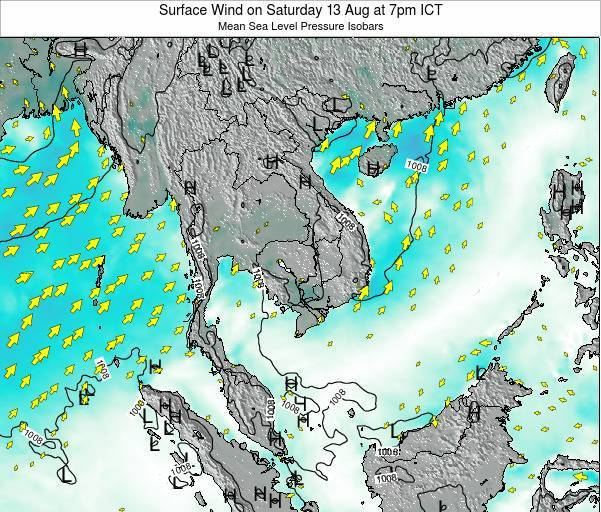 VietNam Surface Wind on Monday 24 Jun at 7am ICT