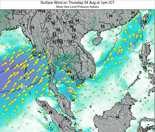 Cambodia Surface Wind on Tuesday 25 Jun at 7am ICT