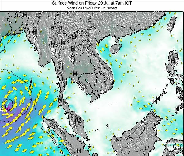 Cambodia Surface Wind on Sunday 26 May at 7pm ICT