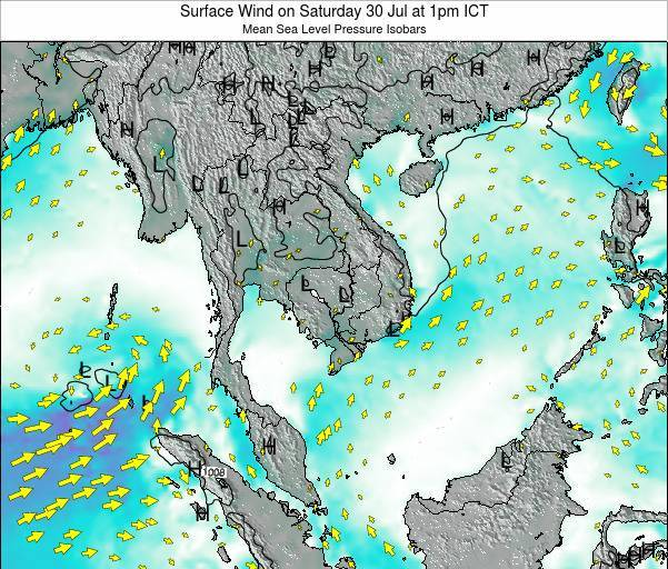 Cambodia Surface Wind on Monday 28 Jul at 1pm ICT