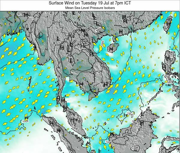 Cambodia Surface Wind on Monday 17 Mar at 7pm ICT