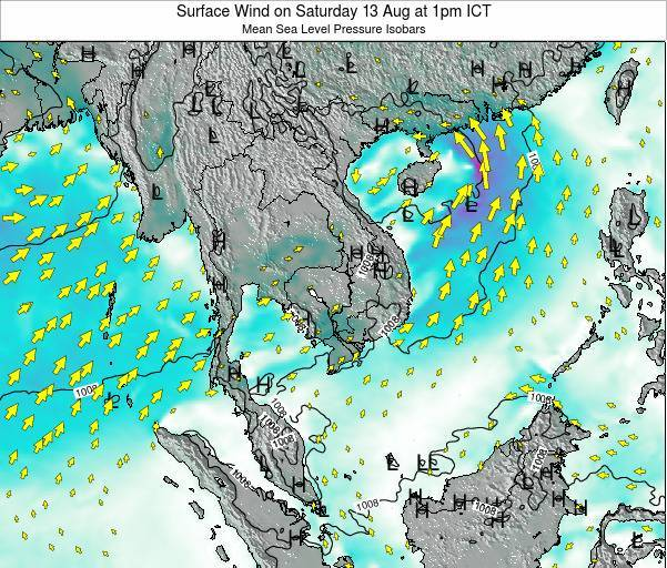 Cambodia Surface Wind on Sunday 05 Jun at 7pm ICT