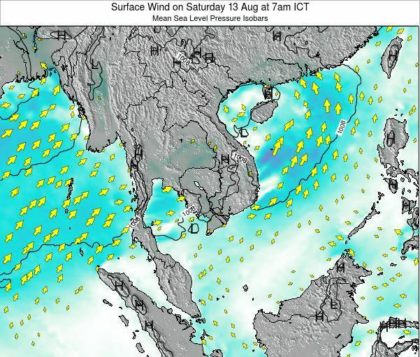 Cambodia Surface Wind on Monday 08 Sep at 1am ICT