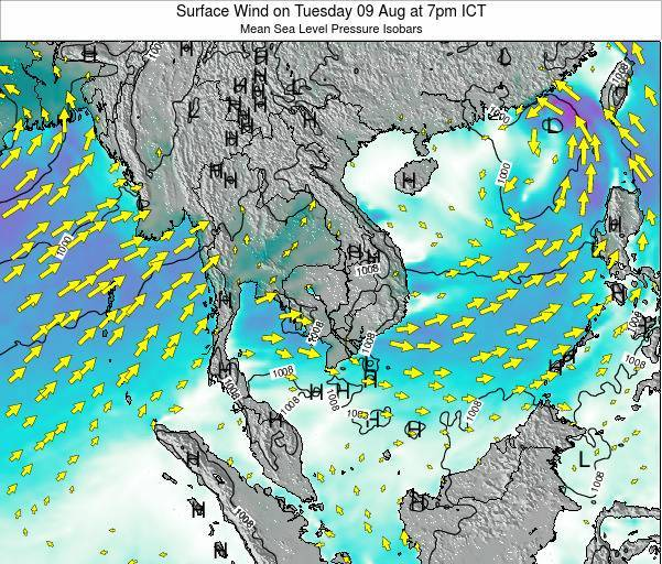 Cambodia Surface Wind on Tuesday 24 Oct at 7pm ICT