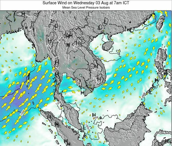 Cambodia Surface Wind on Tuesday 25 Jun at 1pm ICT
