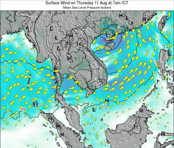 Cambodia Surface Wind on Sunday 29 Oct at 1am ICT