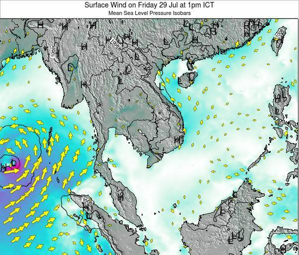 Cambodia Surface Wind on Wednesday 11 Dec at 1pm ICT