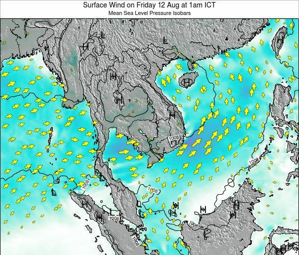 Cambodia Surface Wind on Friday 31 Mar at 7pm ICT
