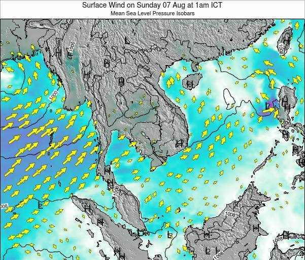 Cambodia Surface Wind on Tuesday 22 Apr at 7pm ICT