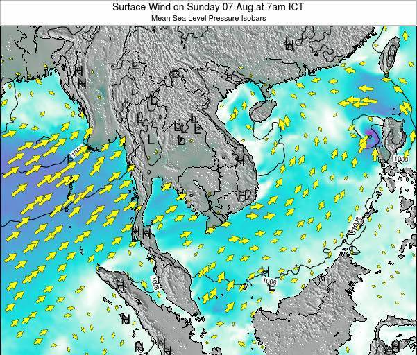 Cambodia Surface Wind on Monday 04 Aug at 1pm ICT