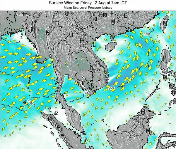 Cambodia Surface Wind on Tuesday 29 Apr at 7am ICT