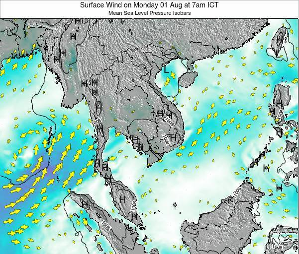 Cambodia Surface Wind on Saturday 09 Jul at 1am ICT