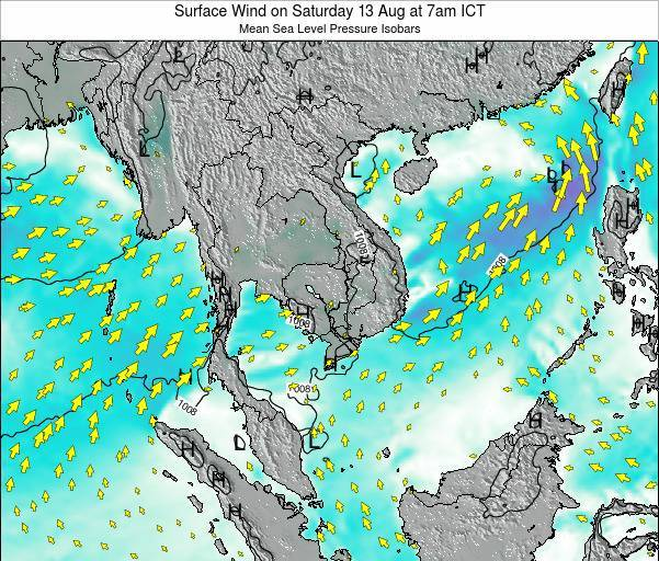 Cambodia Surface Wind on Wednesday 30 Apr at 1pm ICT