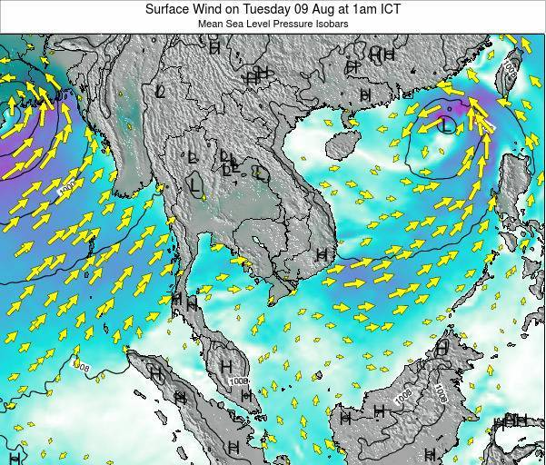 Cambodia Surface Wind on Sunday 16 Mar at 7am ICT