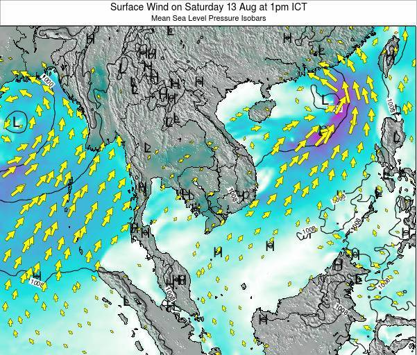 Cambodia Surface Wind on Sunday 27 Apr at 1pm ICT