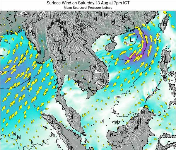 Cambodia Surface Wind on Friday 31 May at 7pm ICT