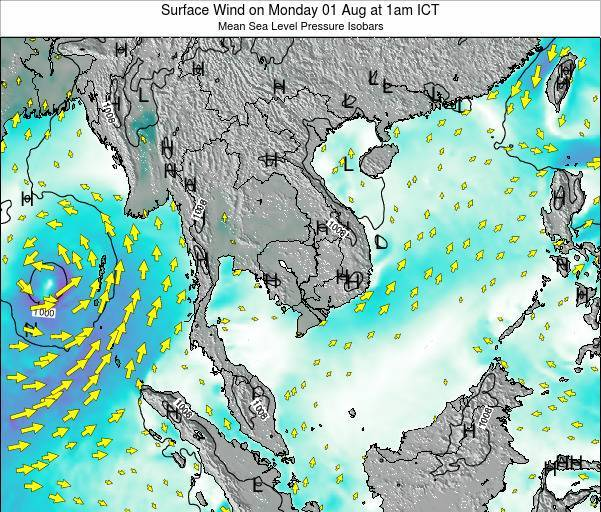 Cambodia Surface Wind on Tuesday 05 Aug at 1pm ICT