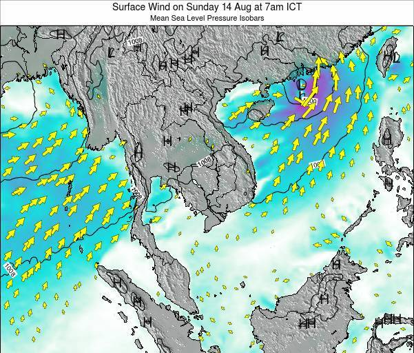 Cambodia Surface Wind on Friday 13 Dec at 1am ICT