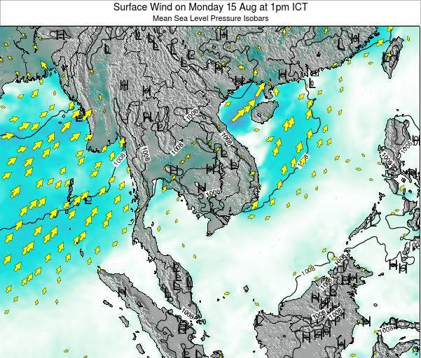 Cambodia Surface Wind on Tuesday 28 Apr at 7am ICT