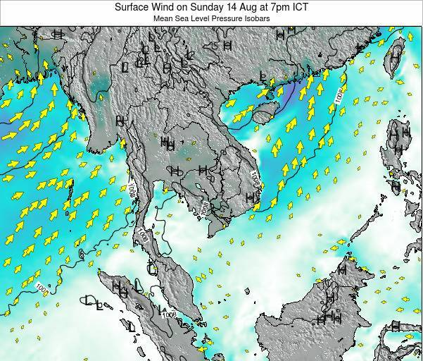 VietNam Surface Wind on Tuesday 28 May at 7pm ICT
