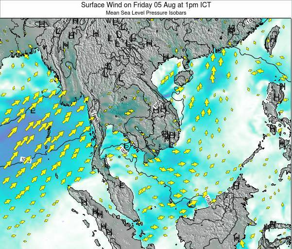 Cambodia Surface Wind on Friday 24 May at 7am ICT
