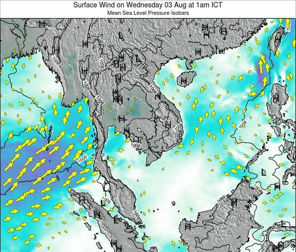 Thailand Surface Wind on Saturday 25 May at 1pm ICT