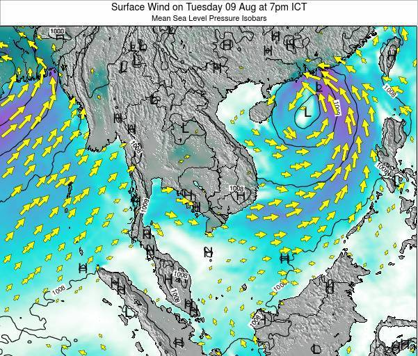 Cambodia Surface Wind on Friday 01 Aug at 7am ICT