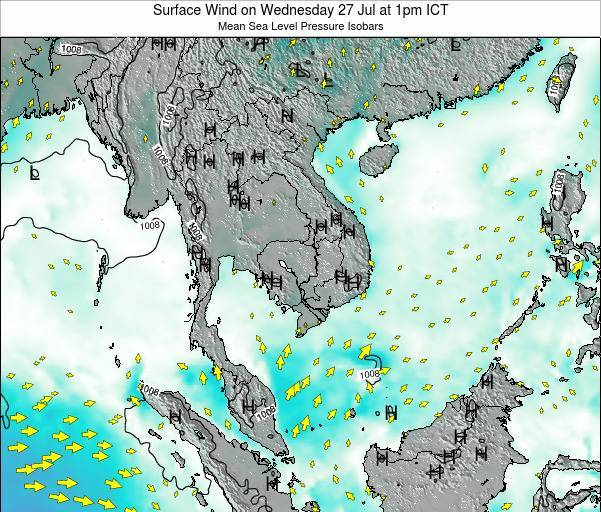 Cambodia Surface Wind on Saturday 26 Apr at 7pm ICT