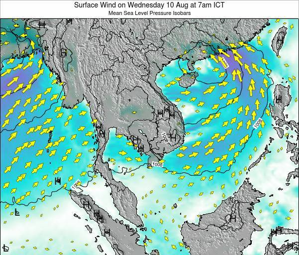 Cambodia Surface Wind on Thursday 13 Mar at 1pm ICT
