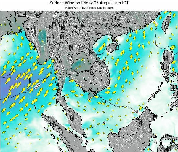 Cambodia Surface Wind on Saturday 26 Jul at 7am ICT