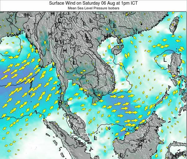 Cambodia Surface Wind on Wednesday 11 Dec at 1am ICT