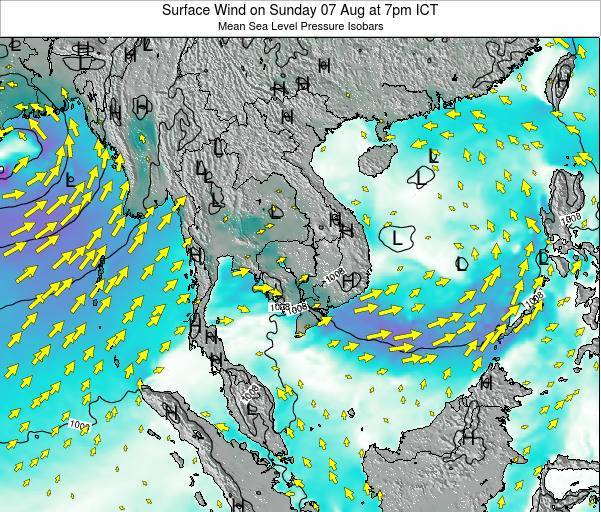 Cambodia Surface Wind on Sunday 20 Apr at 1am ICT