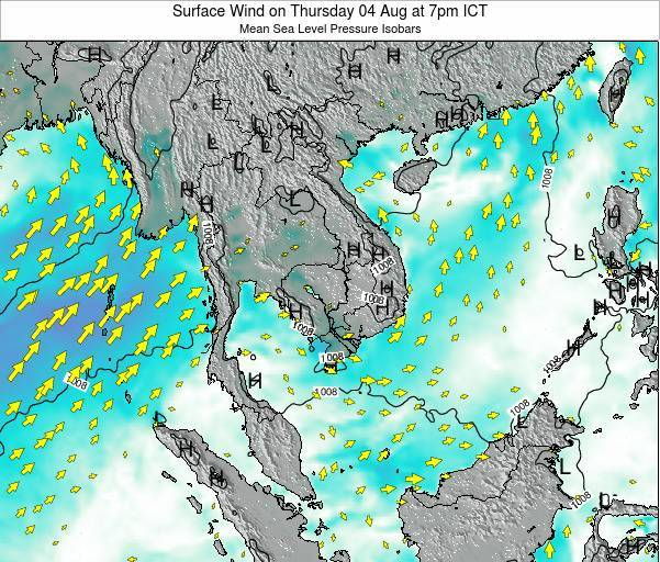 Cambodia Surface Wind on Saturday 25 May at 1am ICT