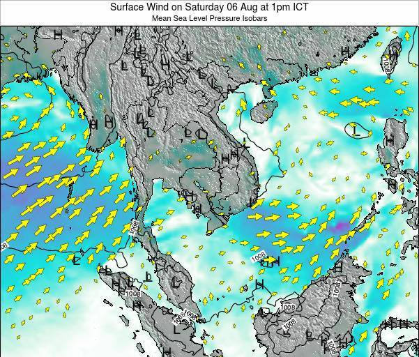 Thailand Surface Wind on Wednesday 22 May at 1pm ICT