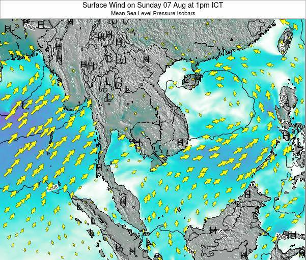 VietNam Surface Wind on Wednesday 22 May at 1pm ICT