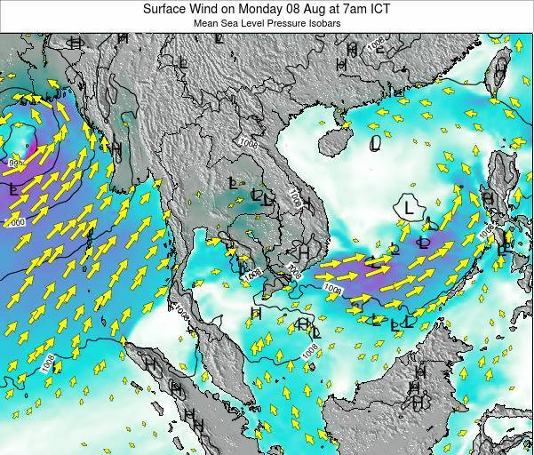 VietNam Surface Wind on Saturday 22 Jun at 7am ICT