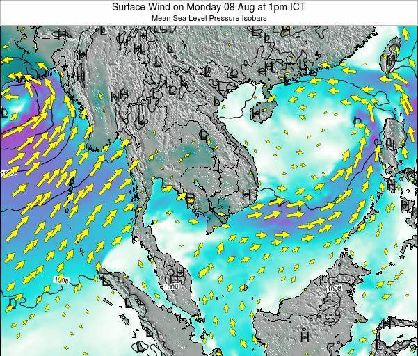 VietNam Surface Wind on Saturday 25 May at 1am ICT