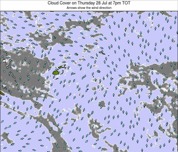 Tonga Cloud Cover on Wednesday 03 Aug at 1pm TOT