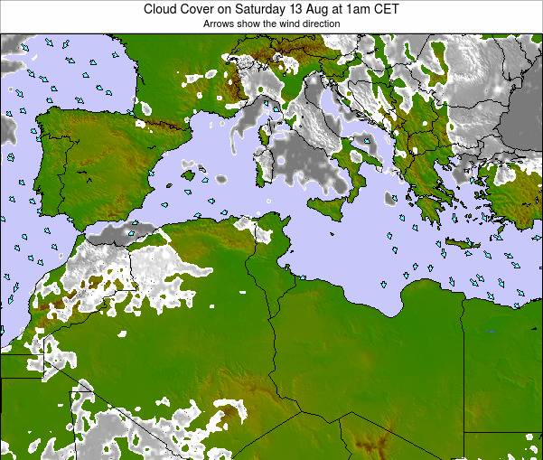 Tunisia Cloud Cover on Sunday 26 May at 1pm CET
