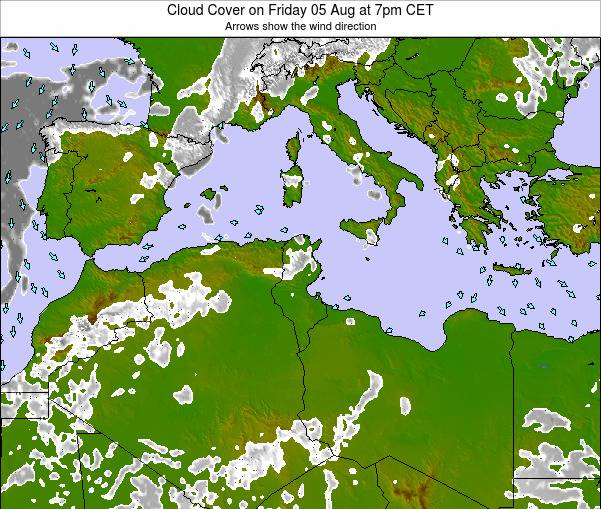 Tunisia Cloud Cover on Monday 27 May at 7am CET