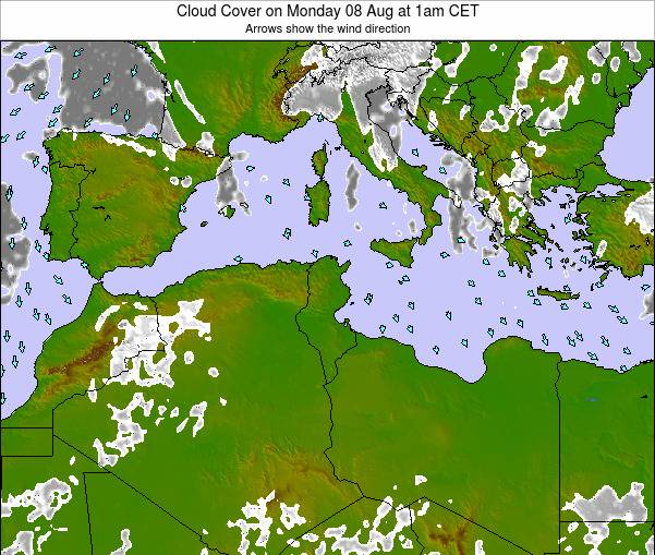 Tunisia Cloud Cover on Friday 24 May at 1pm CET