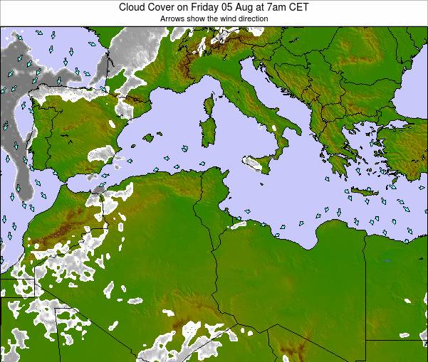 Tunisia Cloud Cover on Monday 27 May at 1am CET
